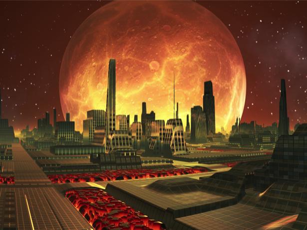 Фотообои город с горящей планетой (fantasy-0000070)