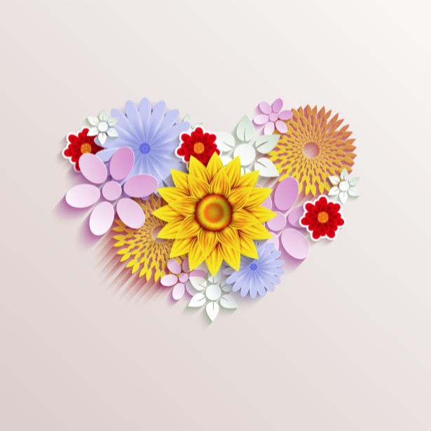 Комнатные обои Сердце из цветов (flowers-0000610)