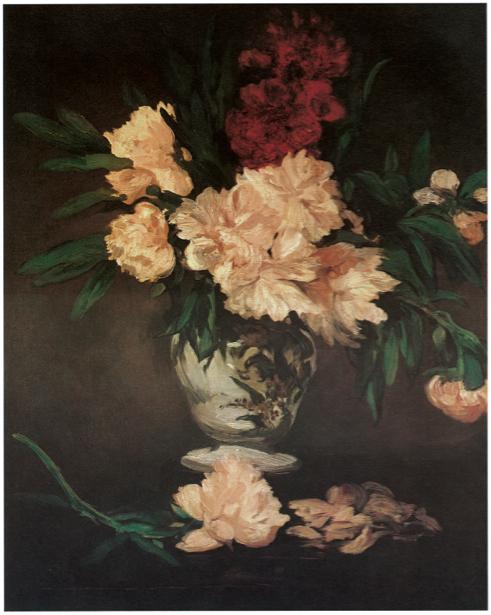 Эдуард Мане ваза с пионами на пьедестале (paint-flower0000077)