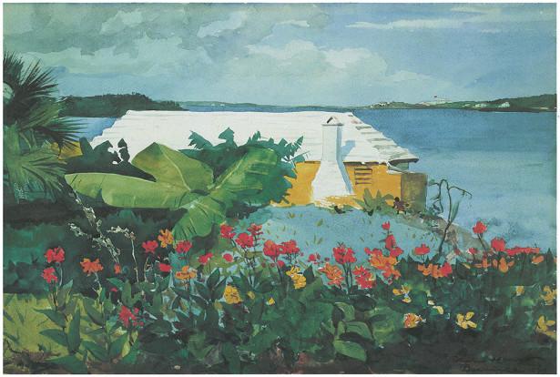 Сад цветов и бунгало, Бермудские острова (pf-63)