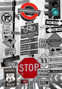 Фотообои дорожные знаки (prg-155)