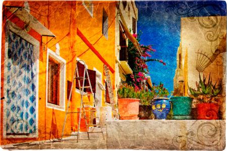 Фотообои итальянский дворик оранж (retro-vintage-0000095)