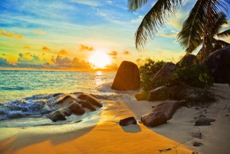 Фотообои в зал берег остров закат (sea-0000286)