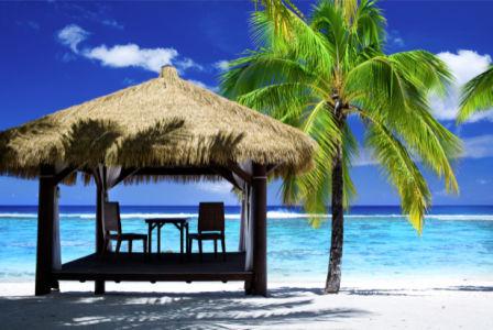 Фотообои море бунгало на песке с пальмой (sea-0000328)