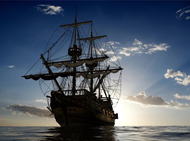 Фотообои парусник в вечернем море (transport-0000053)