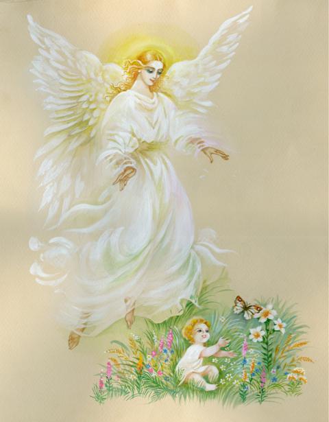 Фреска обои Ангел и ребенок (angel-00058)