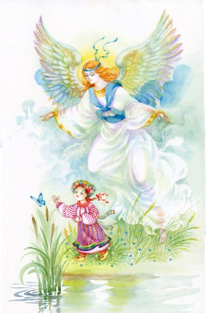Обои рисованный ангел (angel-00060)