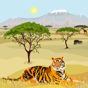 Фотообои рисованный Тигр (animals-0000472)