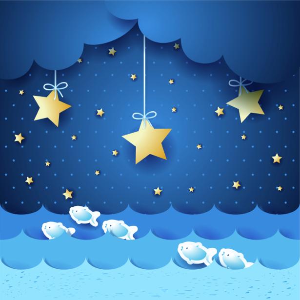 Детские фотообои сказочная ночь звезды (children-0000209)