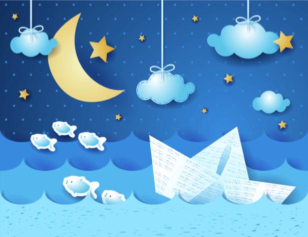 Детские фотообои ночь кораблик (children-0000210)