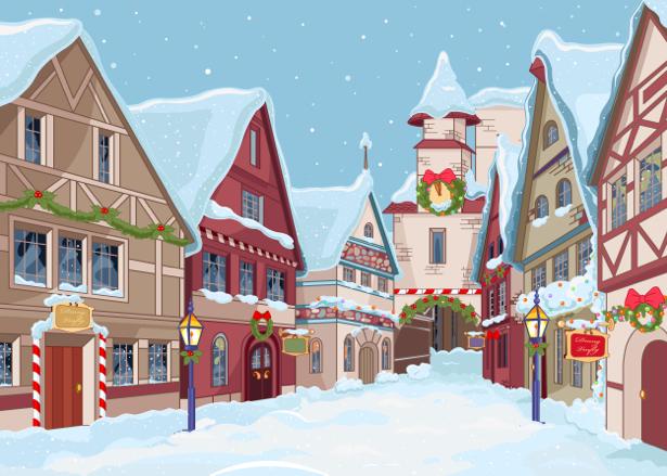 Рождественский город фотообои детские (children-0000279)
