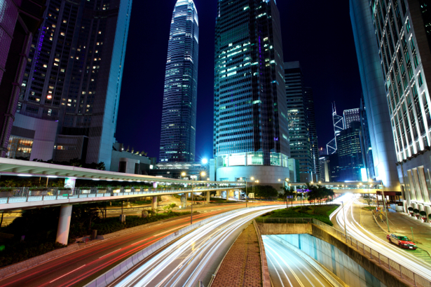 Фотообои Ночной мегаполис, мост, дорога (city-0000287)