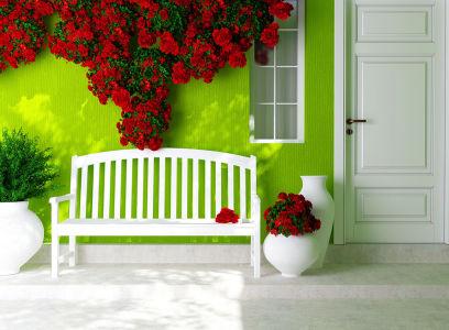 фотообоев цветами и дверью (door7)