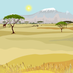 Фотообои рисованный пейзаж Африка (fantasy-0000160)