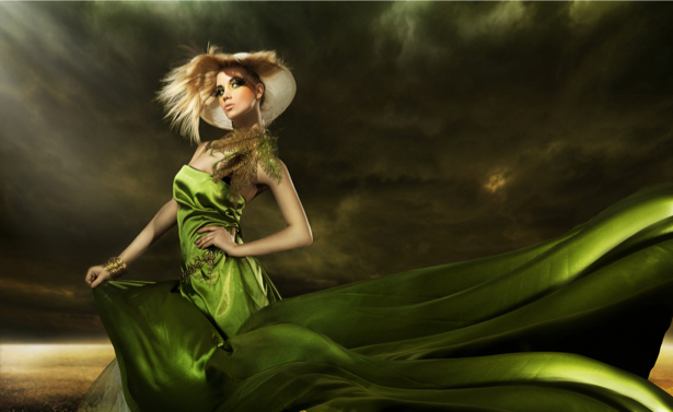 Фотообои девушка в зеленом (glamour-0000059)