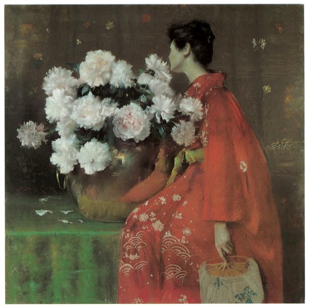 пионы, женщина в красном (paint-flower0000033)