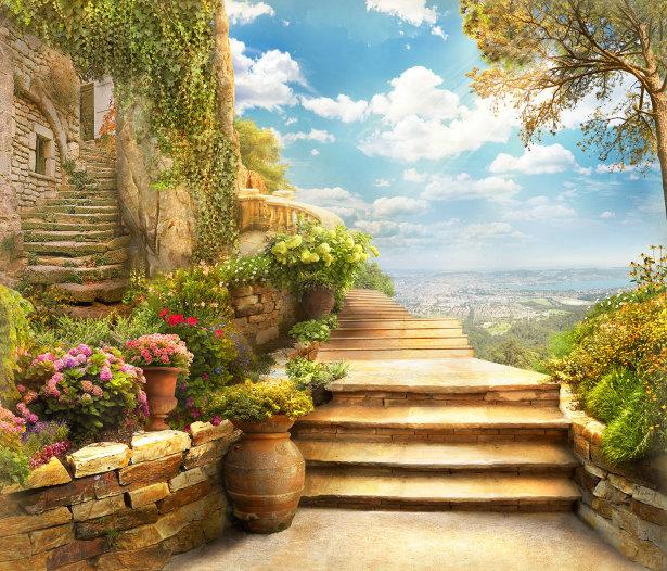 Фотообои лестница в замок (printmaking-0000130)