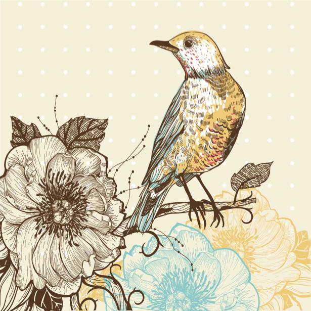 Фотообои Рисованная птица и цветок (animals-0000399)
