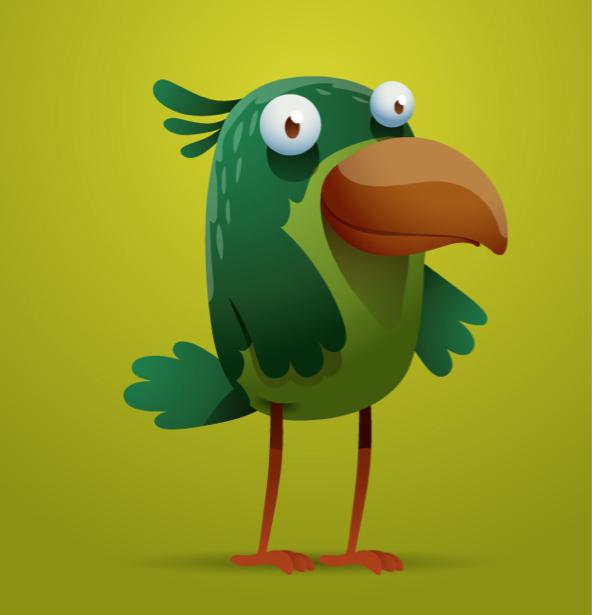 Птица рисованная фотообои детские (children-0000278)