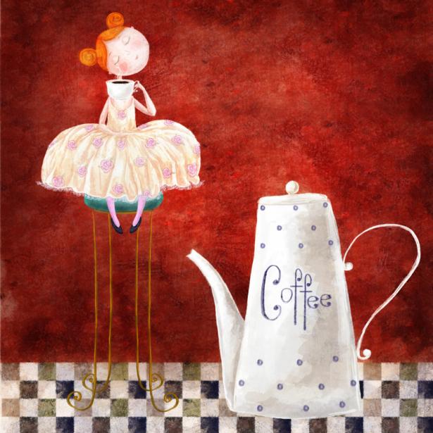 Пьем кофе - фотообои детские (children-0000365)