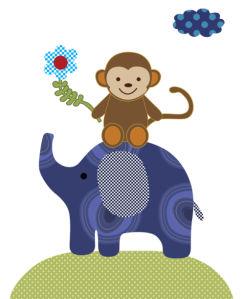 Детские фотообои слон и мартышка (children-0000399)