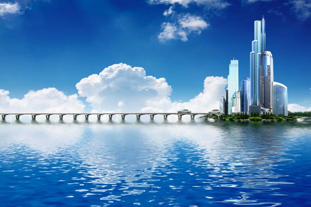 Фотообои небоскребы, мост, океан (city-0000030)