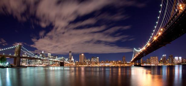 Фотообои огни моста над рекой ночью (city-0000238)