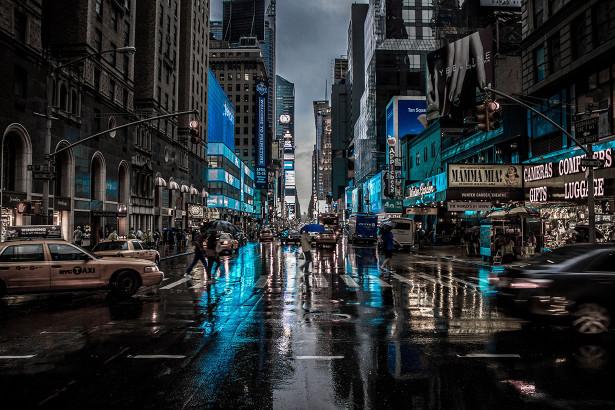 Фотообои дождь в Нью-Йорке (city-1457)
