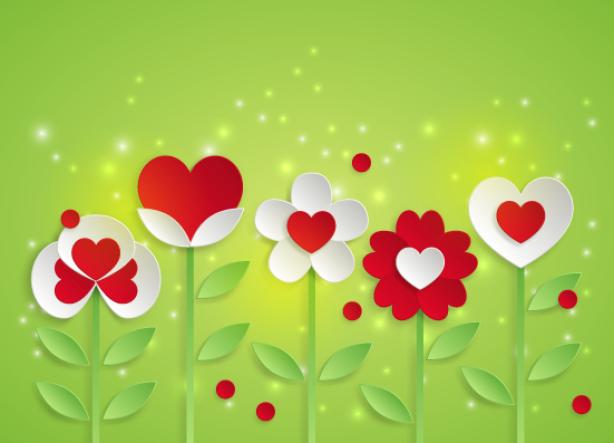 Обои на стену цветы с сердечками (flowers-0000609)
