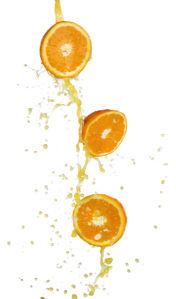 Фото Обои на кухню апельсин в соке 1 (food-0000012)