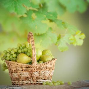 Фотообои на кухню виноград в корзине (food-0000272)