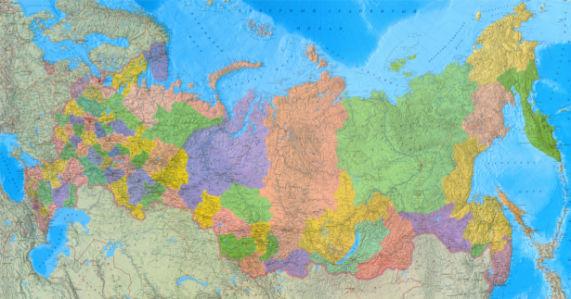 Фотообои физико-политическая карта России (map-0000219)