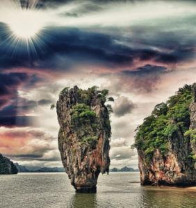 Фотообои скалы в море на закате (nature-0000836)