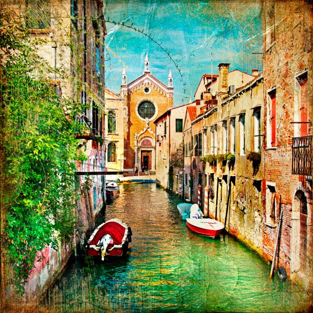 Фотообои канал в Венеции Италия (retro-vintage-0000117)