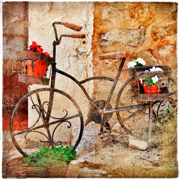 Фотообои велосипед цветы (retro-vintage-0000143)