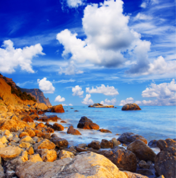 Фотообои море скалы и облачное небо (sea-0000089)