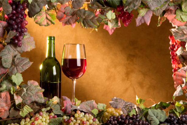 Фотообои с вином и виноград (still-life-0039)