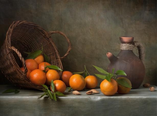 Фотообои апельсины в корзине (still-life-0087)