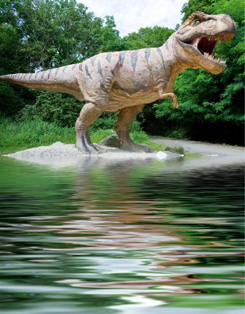 Фотообои динозавр тираннозавр река (animals-0000150)