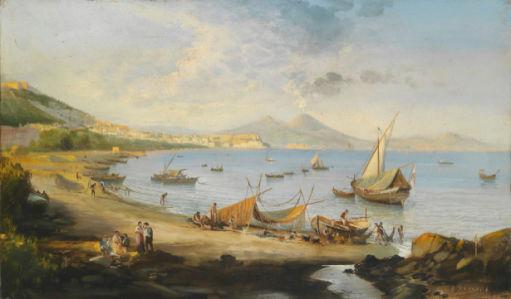 Фотообои Рыбаки в Неаполитанском заливе (art-0000719)