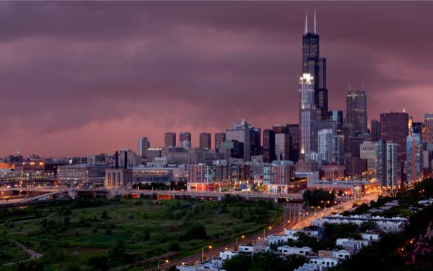 Фотообои Чикаго, ночной город (city-0000021)