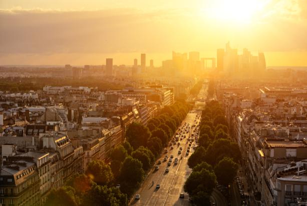 Фотообои Париж вид на город закат (city-0001296)