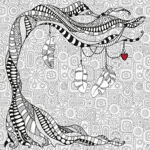 Обои раскраска Дерево Валентина (color-22)