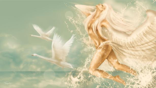 Фотообои девушка с лебедем (fantasy-0000110)