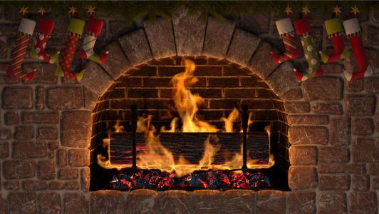 Фотообои рождественский камин (fire-003)