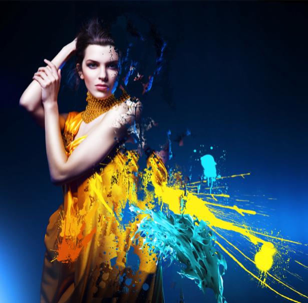 Фотообои девушка и брызги краски (glamour-0000023)