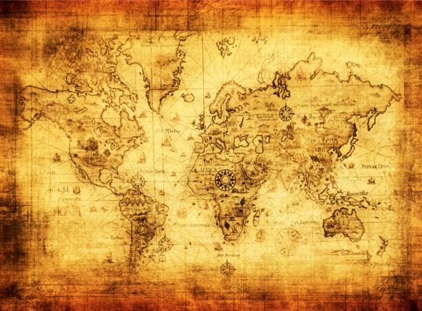 Фотообои затертая старая карта (map-0000172)