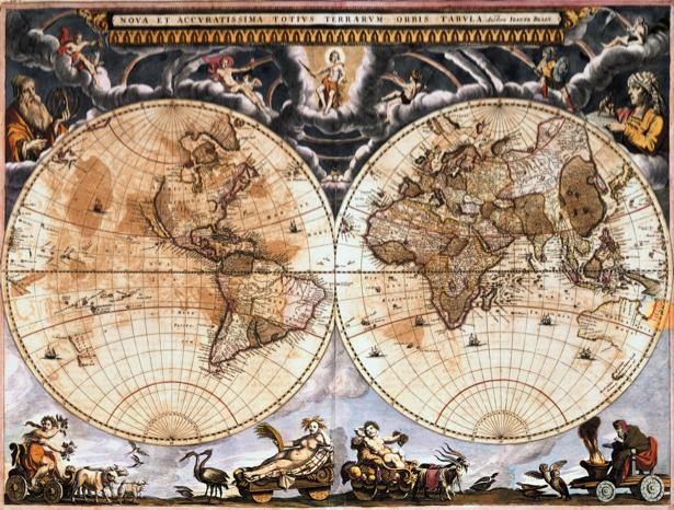 Фотообои карта старая с рисунками (map-0000185)