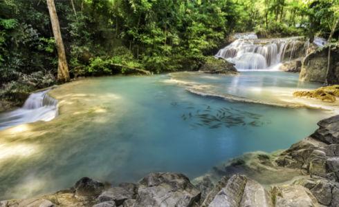 Фотообои водопад камни озеро (nature-0000860)