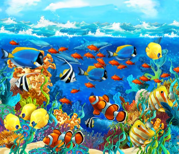 Фотообои для ванны разноцветные рыбки (underwater-world-00178)